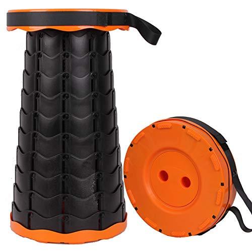 Weitamei Taburetes Plegables retráctiles Taburete de plástico Resistente portátil para Pescar Barbacoa al Aire Libre en Interiores Cocina Carga máxima 150 kg (Negro)