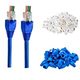 RJ45 Cat6 Pass Through Connectors Gold Plated 8P8C Ends and Blue Strain Relief Boots for CAT6 RJ45 Ethernet Network Cable Connector Plug Cover 100/100 (200 Packs Total)