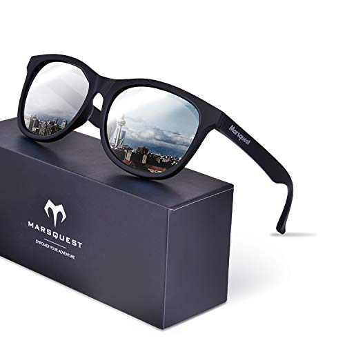 Polarized Sunglasses for Men Women Sport Sunglasses (Carbon Black & Silver)