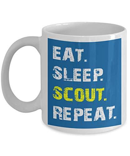 Scout Coffee Tasse - Eat Sleep Scout Repeat - Cadeaux Scout Boy Scout pour Eagle Scout, Eagle Scout Code d honneur ou anniversaire - Eagle Scout Cadeaux pour garçons - Coupe Céramique Blanc