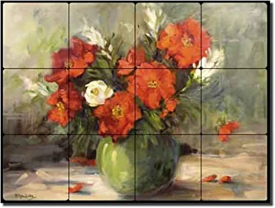 """Is That an Original by Bette Jaedicke - Flowers Floral Tumbled Marble Tile Mural 12"""" x 16"""" Kitchen Shower Backsplash"""