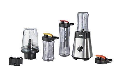 AEG MiniMixer SB 2900 Standmixer (1x 600 ml und 2x 300 ml Tritan-Flaschen, Kühlakku, 500 ml Zerkleinerer, 4-Klingen Messer, Drehregler, 2 Geschwindigkeitsstufen, Pulse-Taste, gebürstetes Edelstahl)