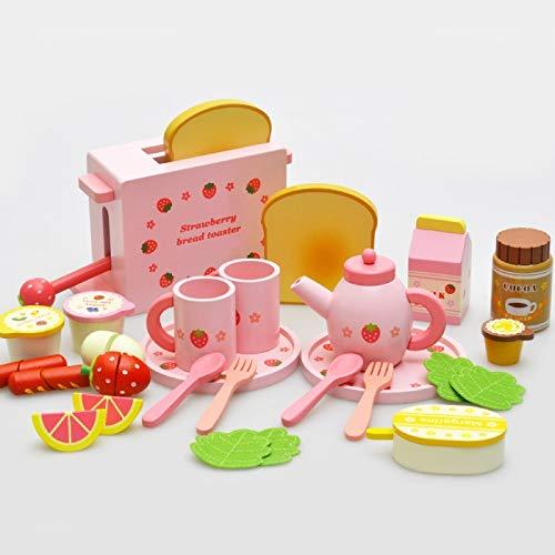 C Spielen Sie Essen, New Pink Cute Wooden Kids Spielen Sie Essen, Simulierter Brot-Toaster Pretend Spielen Sie Essen for Rollenspiel-Geschenk (Color : Pink)