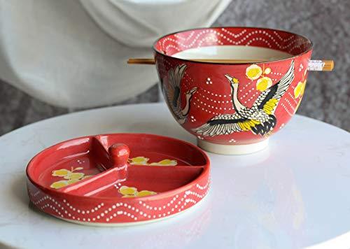 Ebros japanische Essensspeise Tempura Udon Nudeln und Tentsuyu Dip-Sauce, große Schüssel mit Gewürzteiler-Deckel Bambus-Essstäbchen integrierter Ablage (fliegender Kran gelben Kirschblüten)