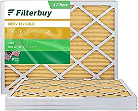 FilterBuy 18x24x1 Air Filter MERV 11, Pleated HVAC AC Furnace Filters (4-Pack, Gold)