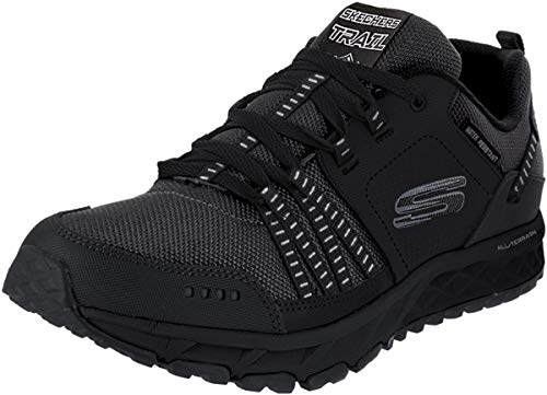 Skechers Escape Plan, Sneaker Uomo, Nero Black Leather Mesh Trim BBK, 41 EU