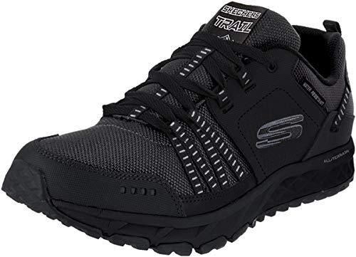 Skechers Herren Escape Plan 51591 Sneaker, Schwarz (Black Leather/Mesh/Trim Bbk), 44 EU