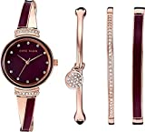 Anne Klein Women's AK/2716RBST Premium Crystal Accented Rose Gold-Tone and Burgundy Watch and Bangle Set
