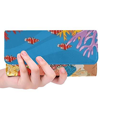 Einzigartige benutzerdefinierte Aquarium Marine Reef Aquarium fischkorallen Frauen Trifold Brieftasche Lange geldbörse kreditkarteninhaber Fall Handtasche
