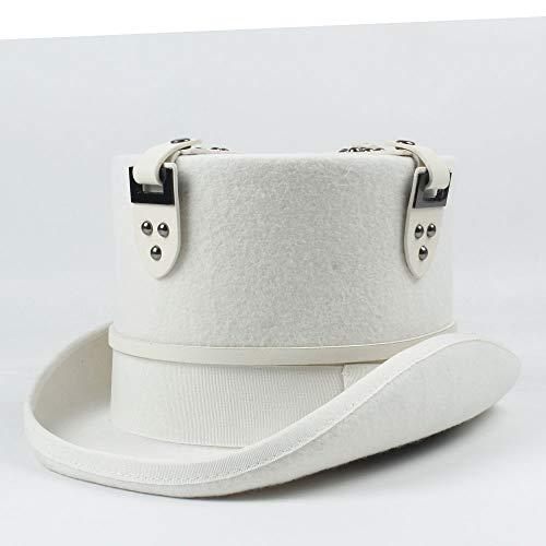 Chapeau Hommes White Takerlama Vintage Steampunk Gear Lunettes De Mariage Floral Haut De Chapeau Punk Style Fedora Chapeaux Chapeau Casual XXY (Color : Blanc, Size : 57cm)