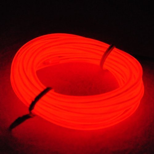 5 M, EL Draht Neon, Glowing Leuchtet Electroluminescent Beleuchtung Licht Mit Batterie Trafo, Nacht Aktivitäten, Weihnachten, Nacht Party, Kostüm Konzert Rave(Rot)