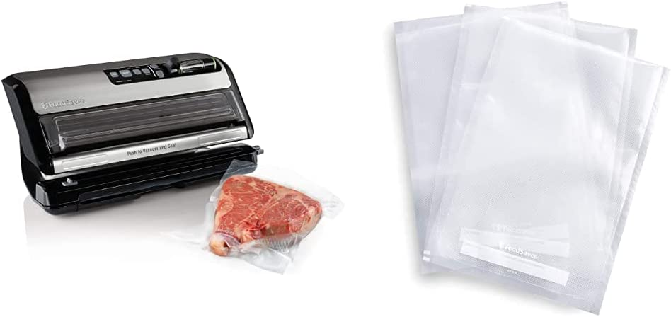 FoodSaver FM5200 2-in-1 Automatic Vacuum Sealer Machine with Express Bag Maker | Silver, 9.3 x 17.6 x 9.6 inches & FSFSBF0226-FFP 1-Quart Precut Heat-Seal Bags, 44 Count, Frustration-Free -Packaging