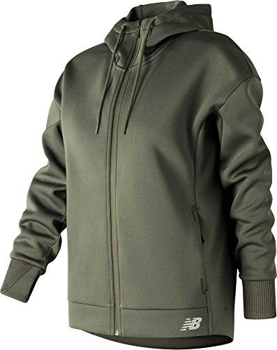 New Balance Sudadera con capucha y cremallera completa New Balance Women's Sport (follaje militar verde, S)