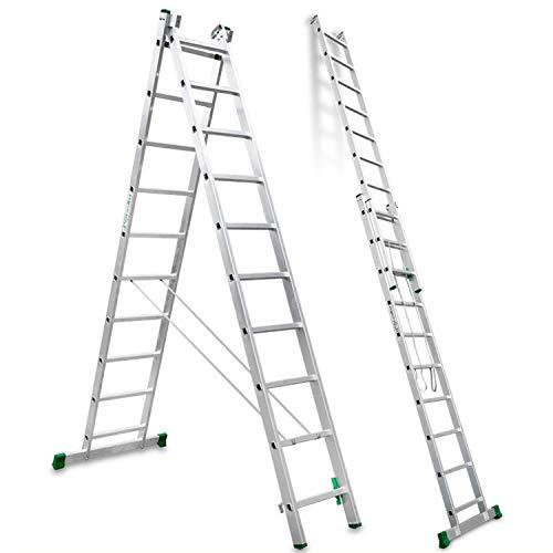 Escalibur | ES.DOBLE | Escalera de Aluminio | Escalera 10 Peldaños | 344x100x12 cm | Amplia base estabilizadora|Peldaños Antideslizantes |Máxima seguridad | Fácil Transporte