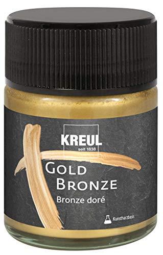 Kreul 99462 - Metallpigmentlack Gold Bronze, 50 ml, für brillante Bronzeeffekte, deckend und lichtbestädig, für Holz, Leinwände, Karton, Stein, Keramik, Metall und viele Kunststoffe