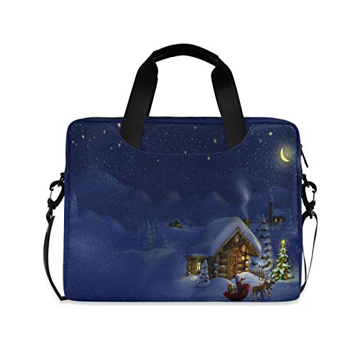 Xmas Night Laptop Shoulder Messenger Bag with Strap for 15.6 inch 16 inch Laptop Travel-Friendly Briefcase Notebook Computer Sleeve Case
