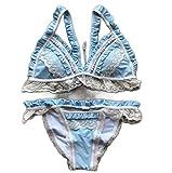 YIFEID Bikini Traje De Baño Femenino De Encaje De Empalme Empuje hacia Arriba Traje De Baño Mujeres Triángulo Volante Bikinis Traje De Baño Verano Playa Desgaste