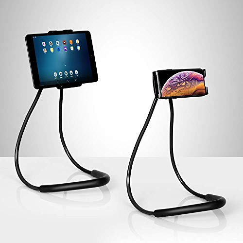Nex Lazy Neck Phone Holder, Multifunctional Flexible Universal Lazy Bracket Cell Phone Holder Stand For Mobile devices 4.7-7.6 inch (Black)