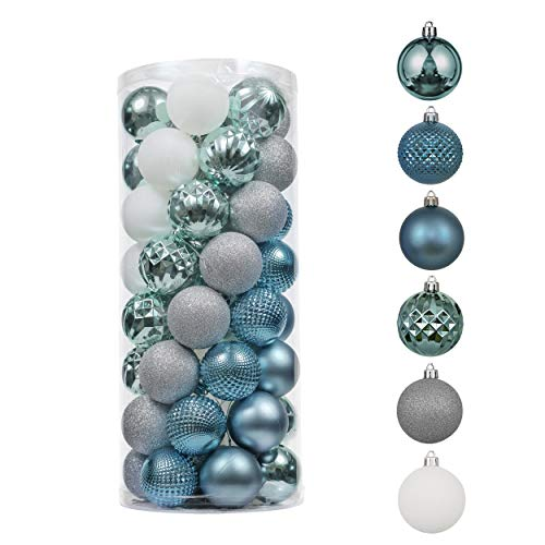 Valery Madelyn 50ct 60mm Winter Land Light Sliver Blue Shatterproof Christmas Ball Ornaments Decoration for Christmas Tree