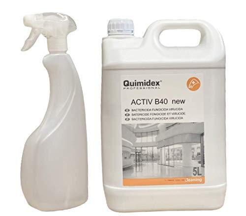 ACTIV B 40 NEW. LIMPIADOR DESINFECTANTE MULTIUSOS: Bactericida, Fungicida y Virucida. Producto recomendado por el MINISTERIO DE SANIDAD. (5 LITROS)