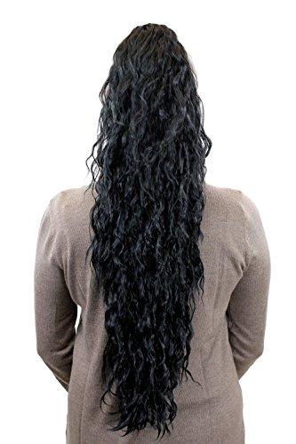 Sehr langer, voluminöser Pferdeschwanz, Haarteil, Zopf mit kinky Locken, Schwarz N838-1