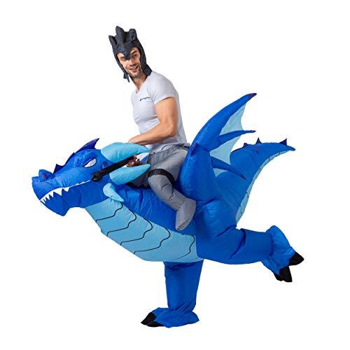Spooktacular Creations Riding a Dragon Deluxe Disfraz Inflable - Azul -