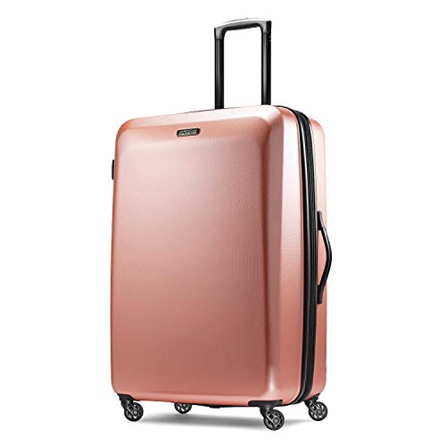 American Tourister Moonlight Hardside Expandable Luggage with Spinner Wheels, Rose Gold, Checked-Large 28-Inch