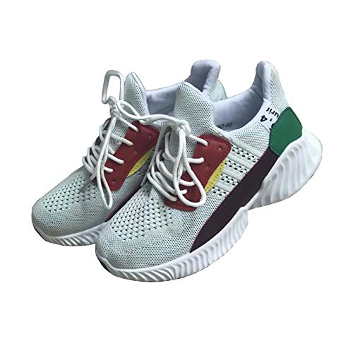 Zapatillas de Deporte para Mujer con Cordones y Suela Gruesa de Malla Transpirable Plimsolls Talla 36 – 38, Color Blanco, Talla 38 EU