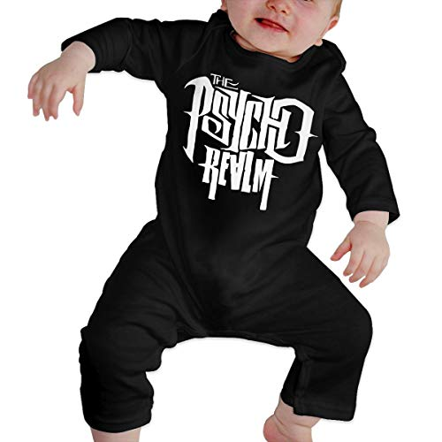 The Psycho Realm Hip Hop Rap Recién Nacido Gilr's Boy's Kids Body para bebé Manga Larga Niño(6M,Negro)