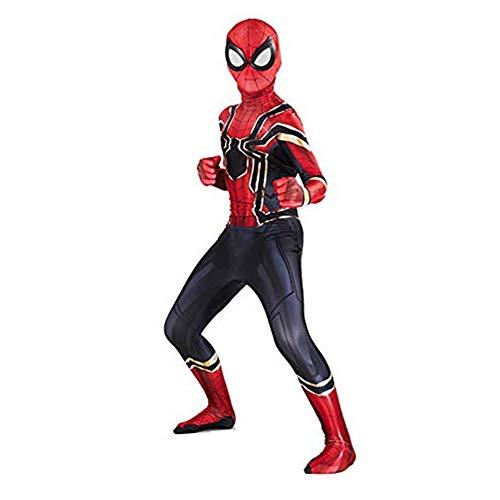 Disfraz Avengers Infinity War Iron Spiderman Peter Parker Halloween Navidad Cosplay Costume con Mascara Nios Rojo (M 110-120)