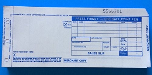 Credit Card Sales Slips, Two Part Carbonless Long Form 38-0024-0303, 100 Forms Per Pack, (Pack of 5)