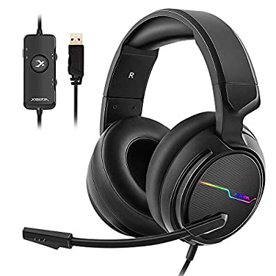 Jeecoo USB Pro Gaming Headset for PC- 7.1 Surround Sound Headphones with Noise Cancelling Mic- Memory Foam Ear Pads RGB Lights for Laptops by Jeecoo Digital Technology
