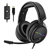 Jeecoo USB Pro Gaming Headset for PC- 7.1 Surround Sound Headphones with Noise Cancelling Mic- Memory Foam Ear...