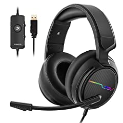 [7.1 Virtual Surround Sound]: 50mm speaker unit neodymium magnets, built-in USB audio sound card with 7.1 surround sound; all game sound effects & details will come to your ears to provide immersive gaming experience. [Noise Cancelling Mic]: Jeecoo c...