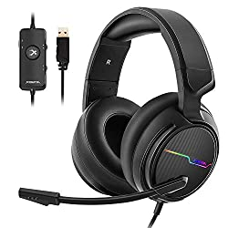 Image of Jeecoo USB Pro Gaming Headset for PC- 7.1 Surround Sound Headphones with Noise Cancelling Mic- Memory Foam Ear Pads RGB Lights for Laptops: Bestviewsreviews