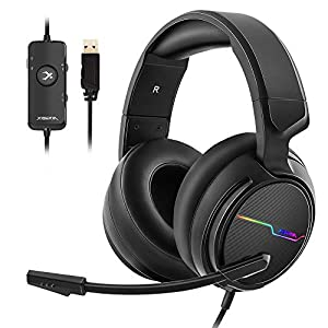 Jeecoo Xiberia USB Pro Gaming Headset for PC- 7.1 Surround Sound Headphones with Noise Cancelling Microphone- Memory…