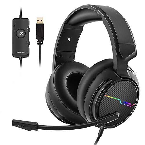 Jeecoo Xiberia USB Pro Gaming Headset for PC- 7.1 Surround Sound Headphones with Noise Cancelling Microphone- Memory Foam Ear Pads RGB Lights for...