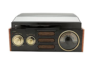 GPO Empire Classic Vintage-Style 3-Speed Record Player Turntable with Analogue Radio, Built-In Speaker, Compatible with External Speakers, Headphone Jack, with RCA Out Connections by Protelx