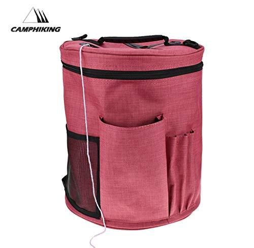 Grand sac de rangement en toile - Pour fil, accessoires de tricotage, crochetage et crochets, Red, about 28 x 32 cm/ 11.02*12.60 in