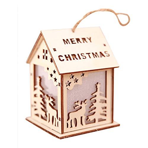 FHJZXDGHNXFGH-DE Glowing Christmas Cabin Weihnachtsmann Xmas Deer Anhänger Holzhaus Anhänger Für Weihnachtsbaum Party Home DecorationElkL