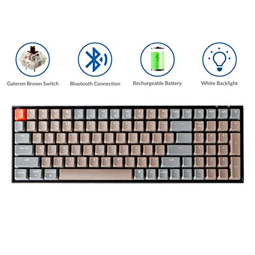 Keychron K4 Mechanical Keyboard, Wireless Mechanical Keyboard with White LED Backlight/Gateron Brown Switch/Wired USB C / 96% Layout, Bluetooth Gaming Keyboard for Mac Windows PC Gamer