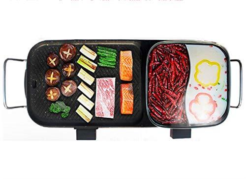 NANXCYR BBQ PotStile Koreaanse BBQ Poke Hot Pot zonder rook Multifunctionele Dual Pot anti-aanbakpan elektrische kookpan Alles krachtige kookplaat Black 71 × 25 × 13 cm, 220 V
