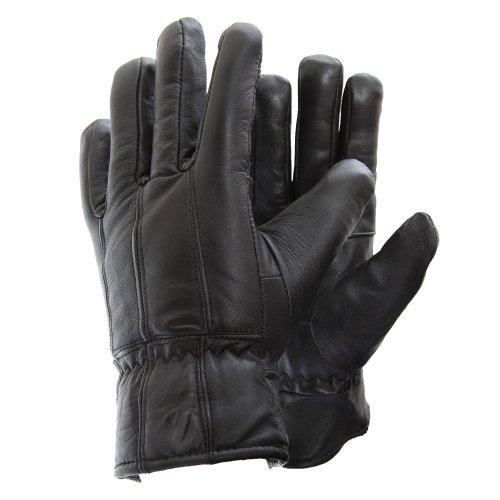 Gants en cuir véritable pour homme (M/L) (Noir)