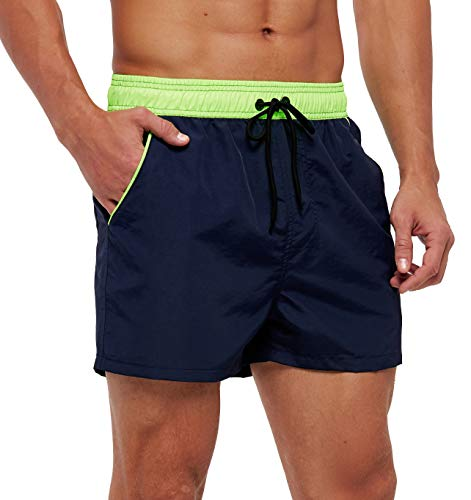 SILKWORLD Men's Swimming Shorts Quick Dry Solid Swimsuit Swim Trunks with Mesh Lining and Zipper Pockets, Navy, Large