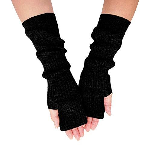 """Cashmeren Women's 100% Cashmere Knit Long Fingerless Arm Warmers Mitten Gloves 13"""""""
