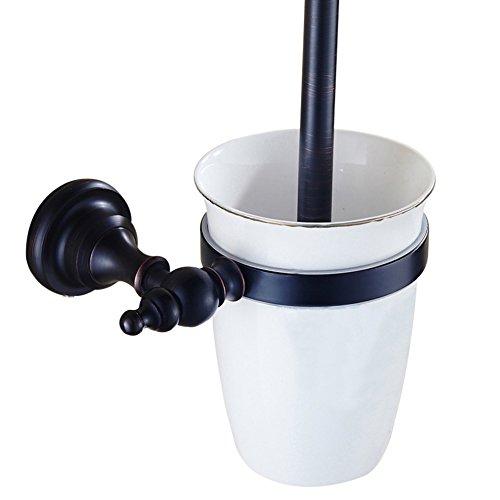 CASEWIND Toilettenbürstenhalter mit Keramik Becher und Bürste für WC, Amerikanisch Schwarz Cool Öl Rubbed Bronze finished Messing Wandmontag Einfach Stil