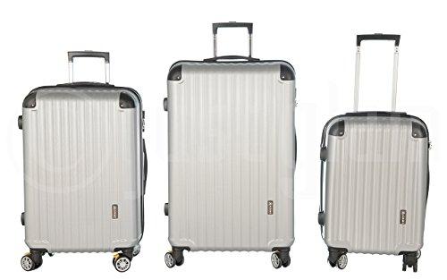 Trolley valigia set valigie rigide set bagagli in policarbonato abs con freni e portabottiglie super leggeri 4 ruote piroettanti trolley piccolo adatta per cabina con compagnie lowcost art 688 / argento