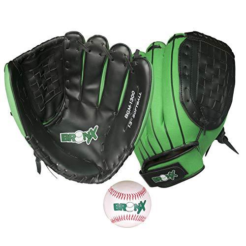 Bronx Hybrid Glove Catch Set-Softball Baseball-Handschuh, schwarz/grün, Für Erwachsene