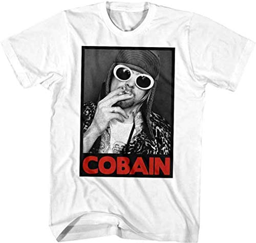 Kurt Cobain Smoking Box Photo T-Shirt (Large) White