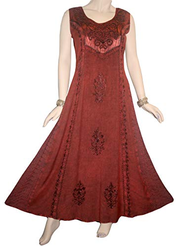 Agan Traders 1004 DR Party Renaissance Summer Sun Dress Gown ~ India (M, Red/Burgundy)